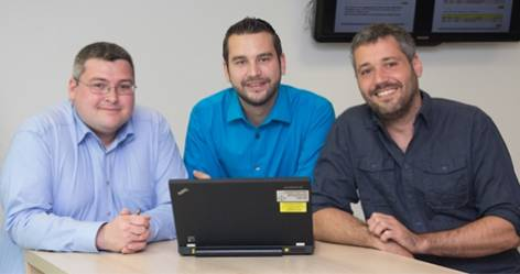 (l-r) IT project manager Michele Troiano, QHSE staff Roman Gysin and factory manager Francisco Rodriguez